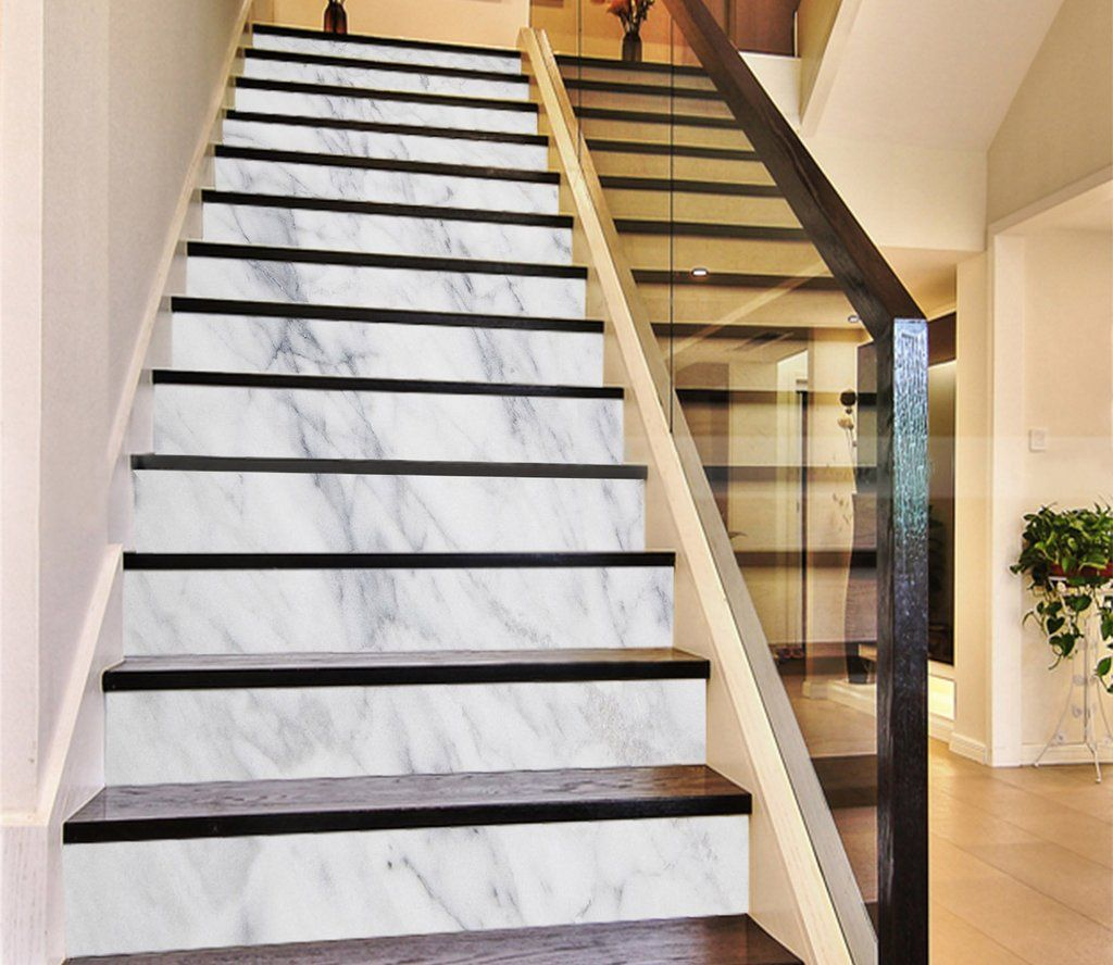 3d Classic White 203 Marble Tile Texture Stair Risers Aj Wallpaper Marble Staircase Tiled Staircase Wallpaper Stairs