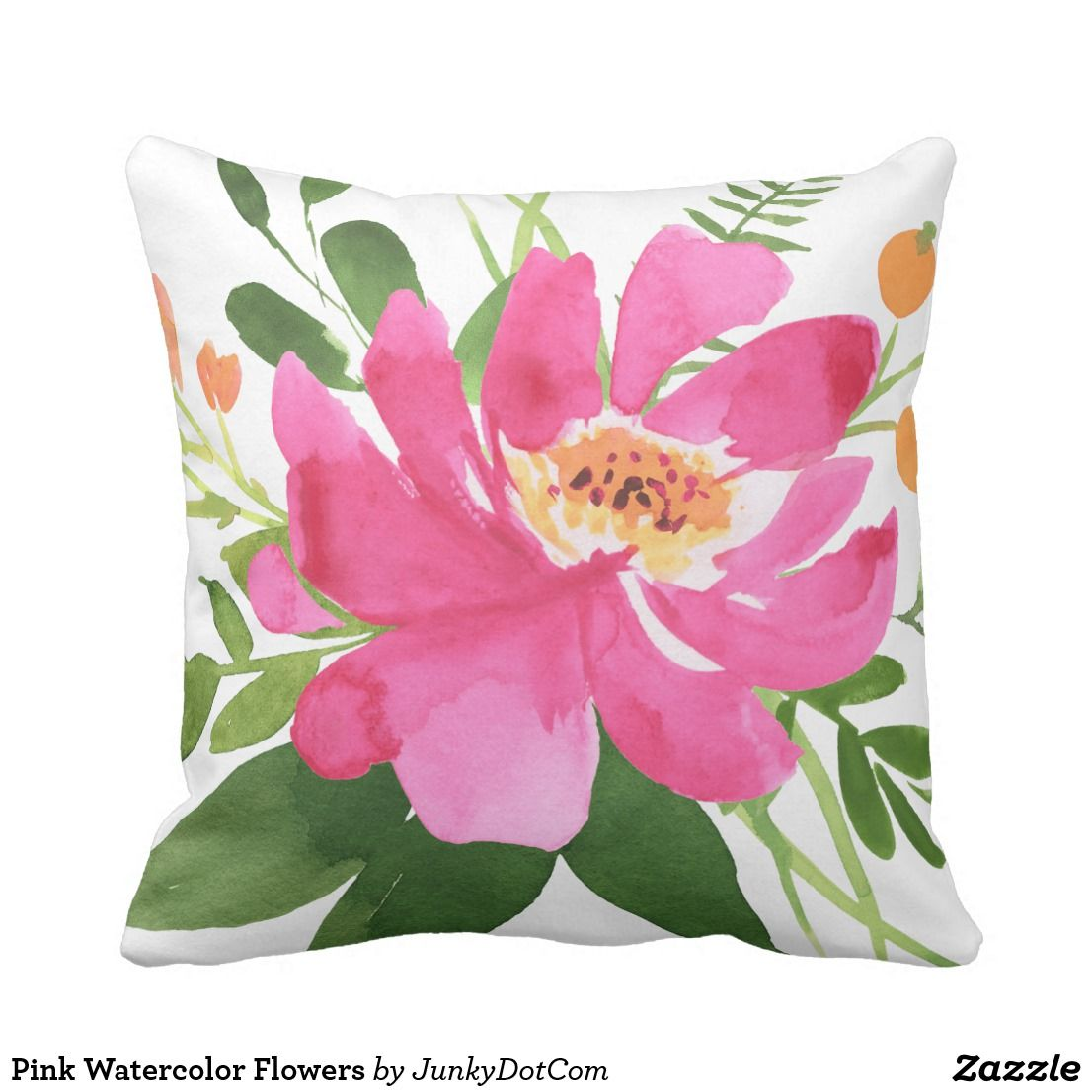 Pink Watercolor Flowers Throw Pillow Flower Throw Pillows Flower Throw Pillows Diy Pillows Floral