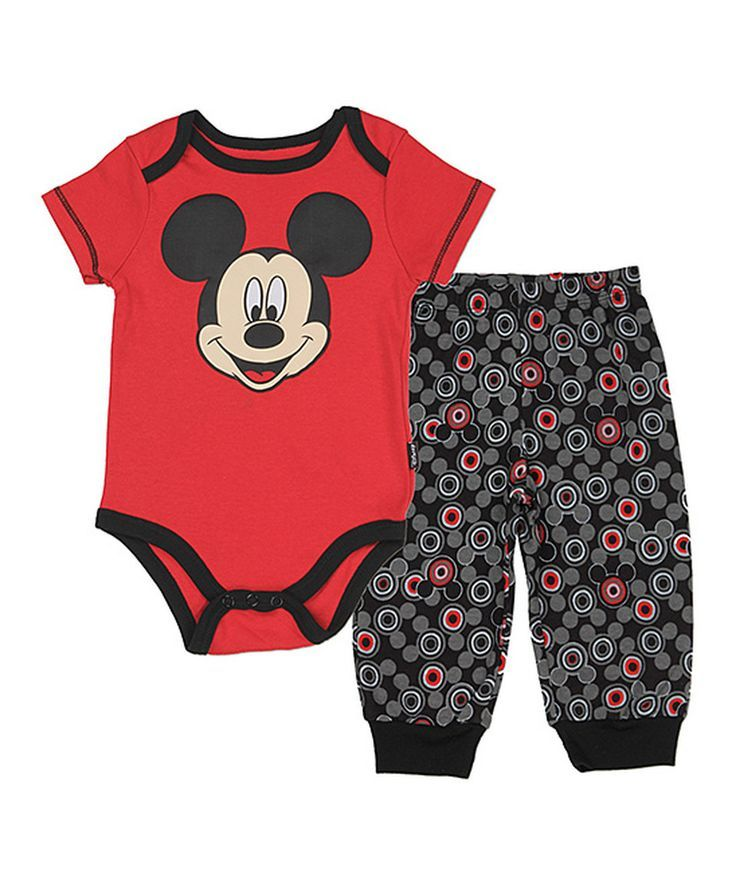 bab64dcd6616 Another great find on  zulily! Red Mickey Mouse Bodysuit   Pants - Infant  by Disney Baby  zulilyfinds