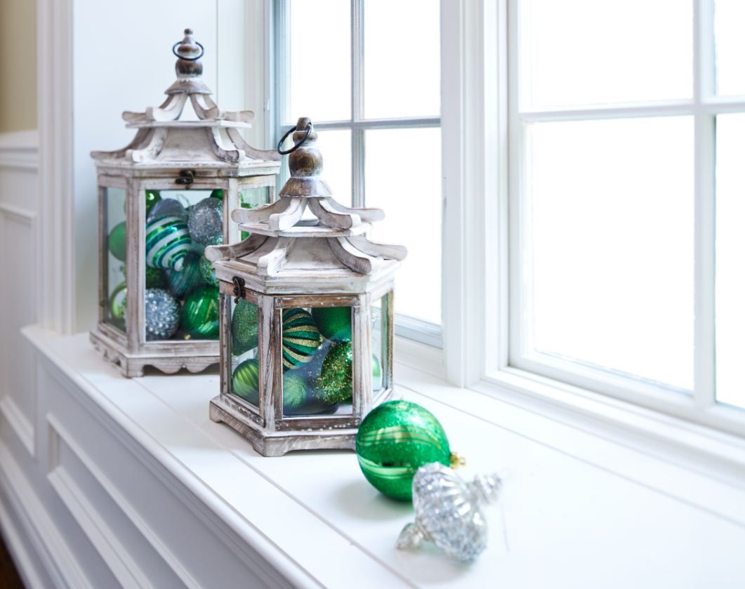 Gather your favourite ornaments into a lantern for a