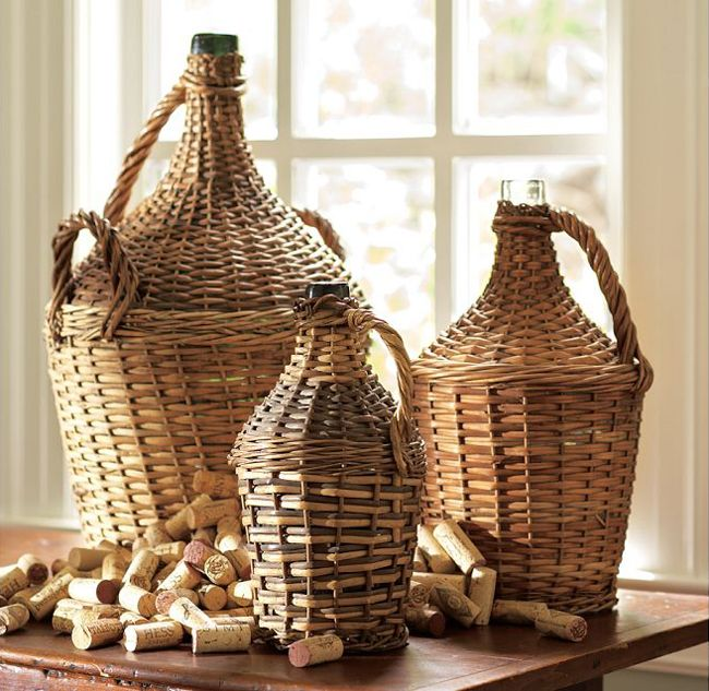 PB Found Woven Rustic Woven Wine Bottles