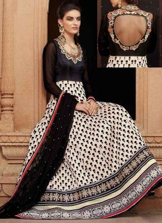 8fc87da065 Black White Embroidery Work Banarasi Net Print Designer Long Anarkali Gown  Suit http://