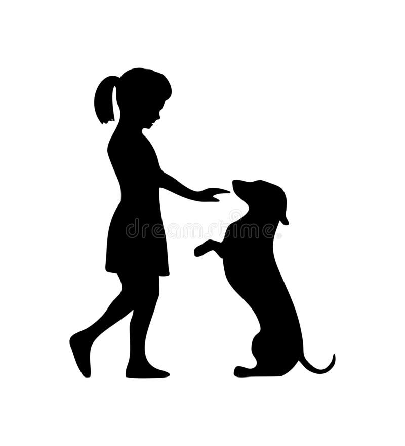 Girl Petting A Dachshund Dog And People Walking Silhouette Icon Vector Illustration Dachshund Silhouette Silhouette Drawing Girl And Dog