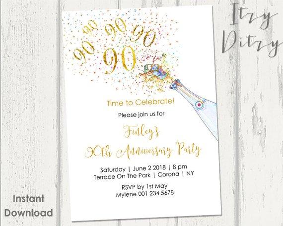 90th Birthday Invitations Template