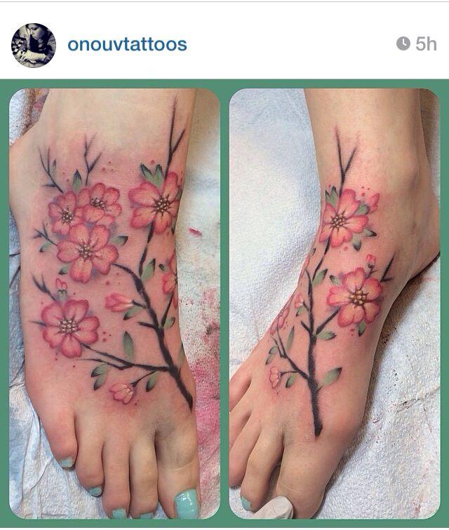 Watercolor Cherry Blossom Tattoo Instagram Onouvtattoos Olivia At Chrome In Bozeman Montana G Flower Tattoo Foot Cherry Blossom Tattoo Blossom Tattoo