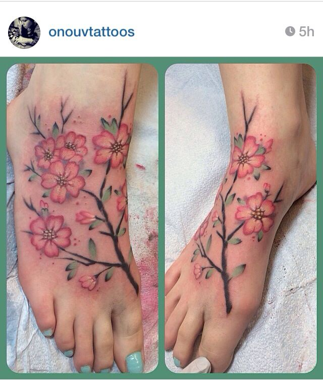 Watercolor Cherry Blossom Tattoo Instagram Onouvtattoos Olivia