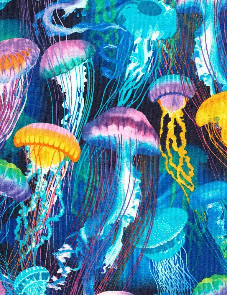 0 50m Unterwasserwelt Regenbogen Quallen Meer Stoff Baumwolle