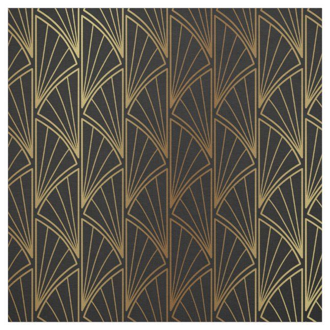Art Deco Geometric Gold Foil ID492 Fabric