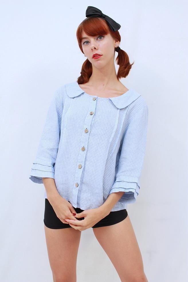 TALIA BENSON PRETTY Blue White CHECK LINEN Peter Pan Collar Blouse Shirt Top L