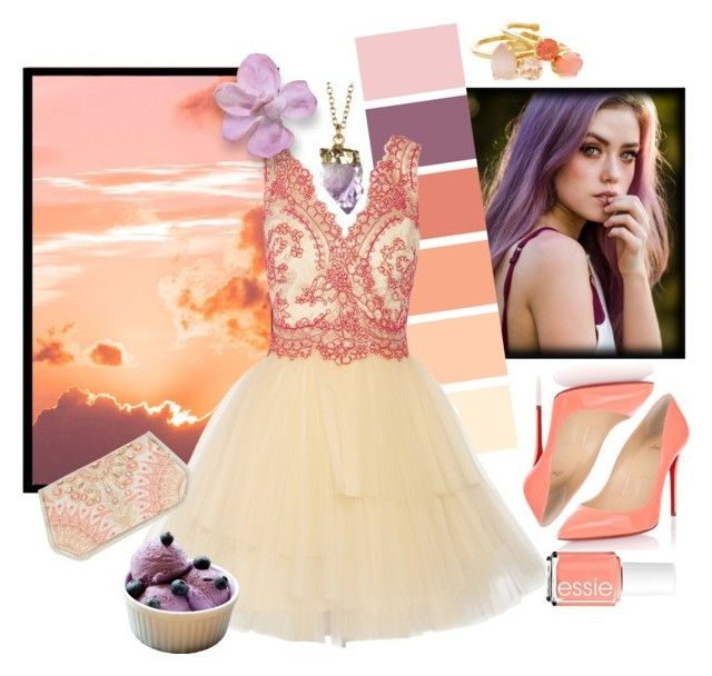 """""""Summer Evening"""" by elsiebeagie ❤ liked on Polyvore featuring Christian Louboutin, Notte by Marchesa, Leila and Kate Spade"""