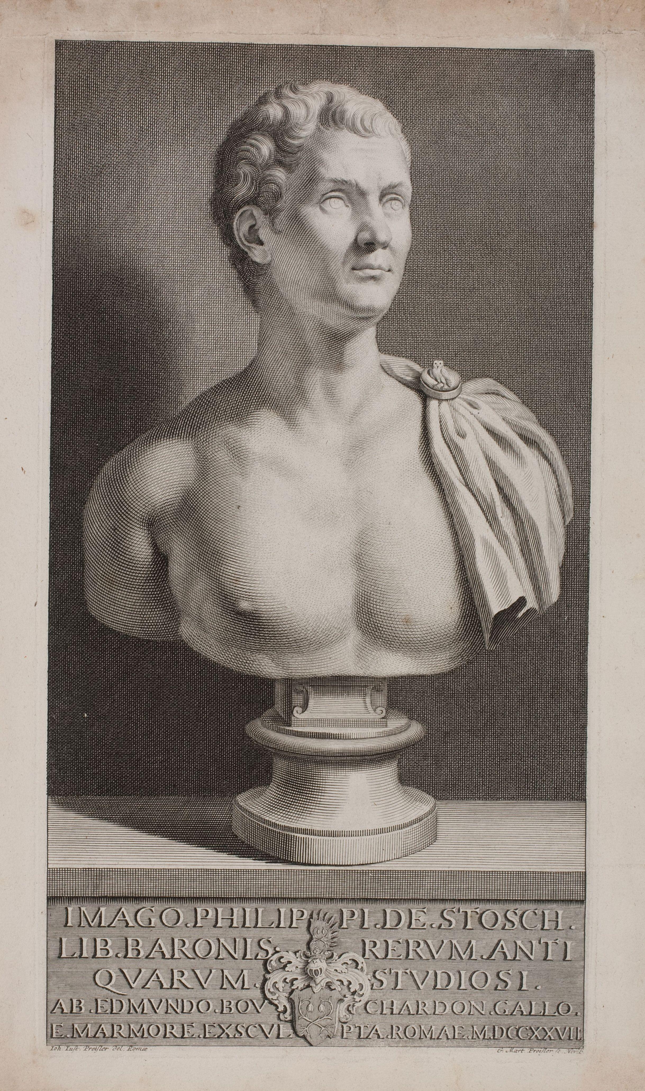 Stosch, Philipp von (1691-1757), engraving by Georg Martin Preisslers from the sculpture of Bouchardon
