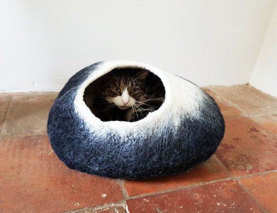 Cat Bed Cat Cave Cat House Cat Igloo Felted Wool Black And White