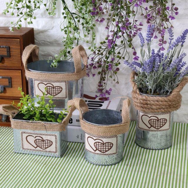Estilo Pastoral Zakka corda de cânhamo transportar por mão Aures Unitas suculentas berçário vasos de flores plantadores 1 PC Hanging Tin balde