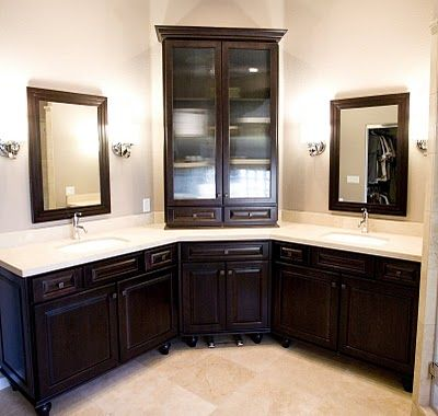 Corner Bathroom Vanity On And The Once Empty Of Now Has Plenty Storage With