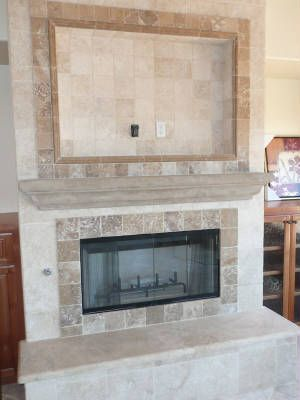 Travertine Fireplace Ideas Or Wood Burning The Surrounding Finish Is 12x12