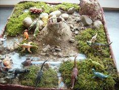 Dinoprojekt Kinder basteln leicht, Diorama kinder