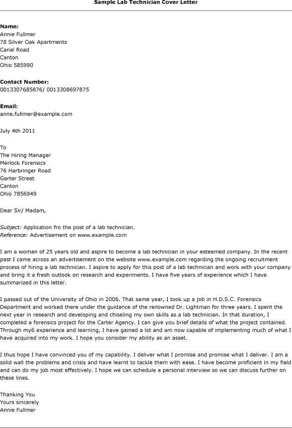 Cover Letter, Lab Technician Cover Letter Always Use A Convincing - cover letter free template