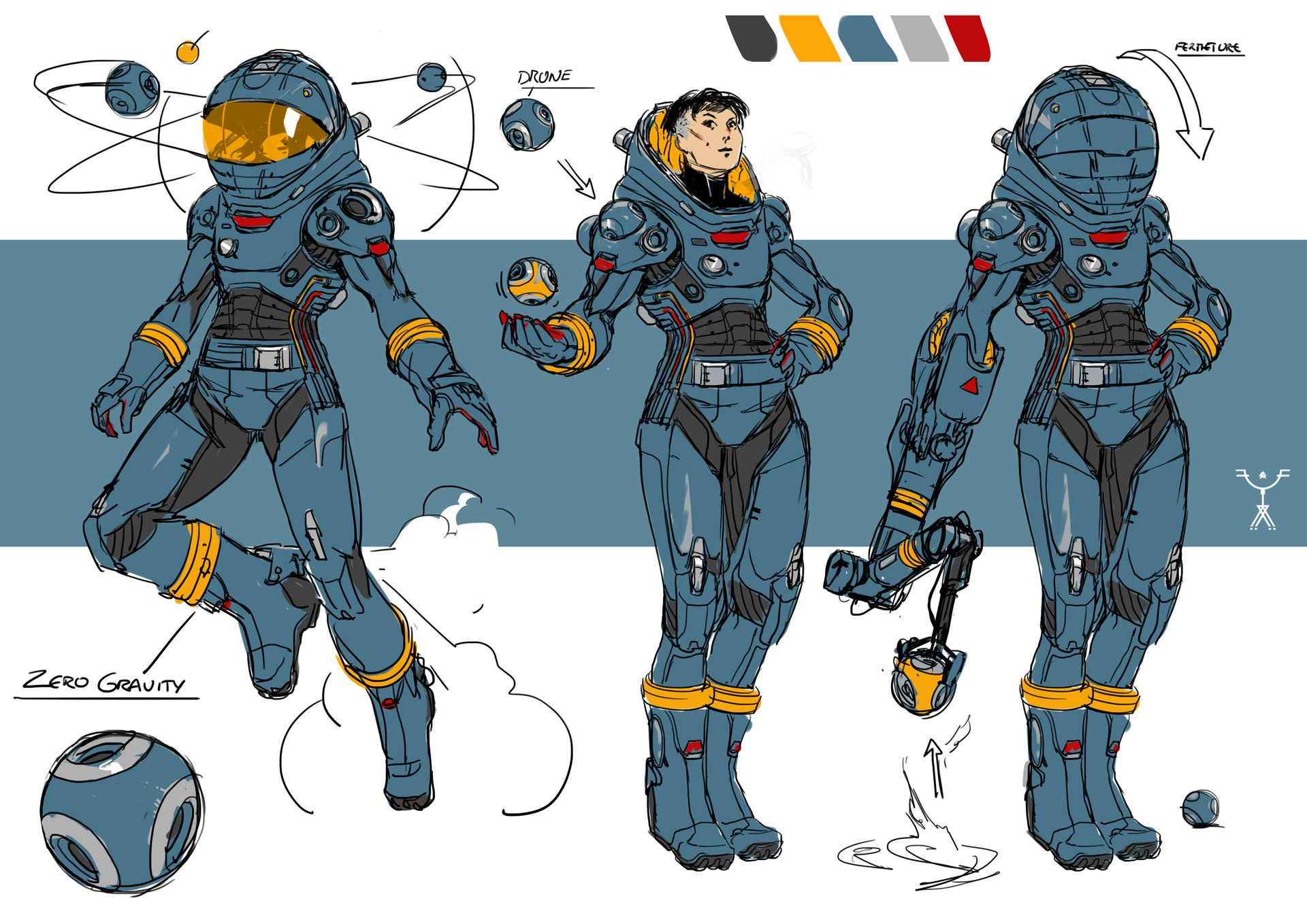 artstation blue space suit design fred augis