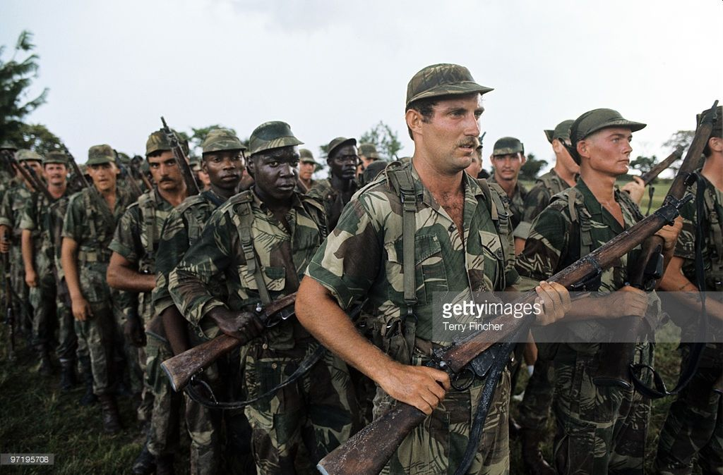 Rhodesian security forces from mixed race seen training to