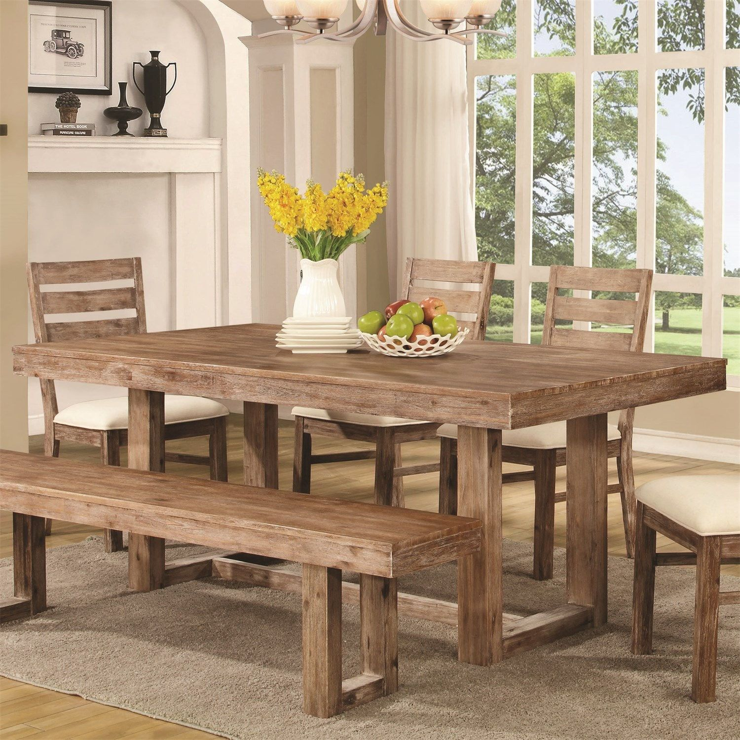 Coaster Furniture 105541 Elmwood Dining Table In Wired Brush Wheat  # Muebles Coaster