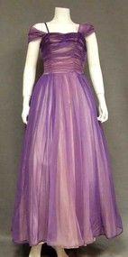 Purple Ombre Marquisette Evening Gown w/ Shoulder Wrap