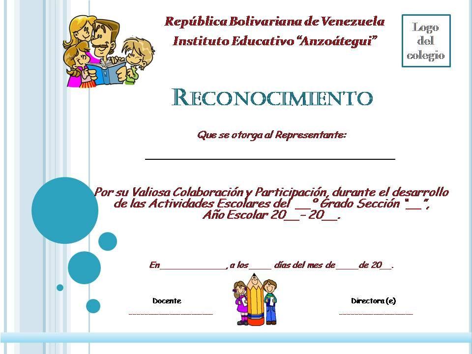 Planeta Escolar: Diplomas y Reconocimientos a padres y familia ...