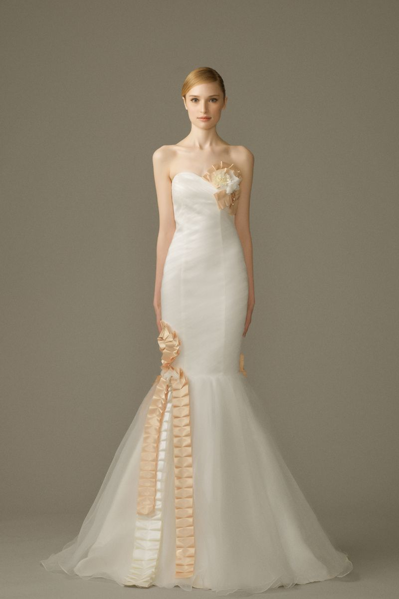 Trumpet gown by amanda lee weddings white gowns with colorful