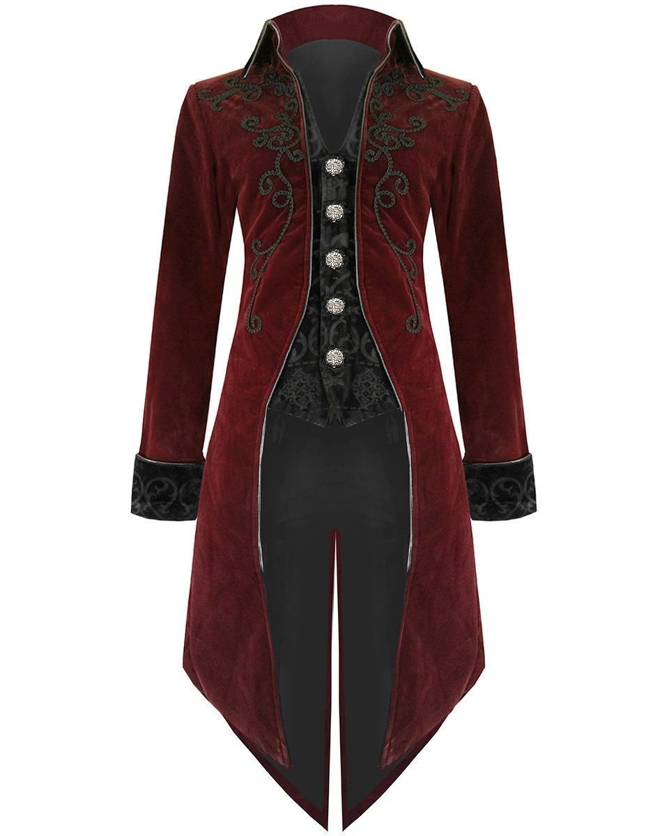 Mens Steampunk Victorian Tailcoat Jacket Red Custom