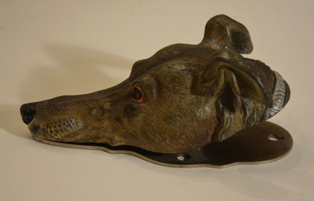 Antique Figural Desk Clip ~ Greyhound ~ Whippet Dog