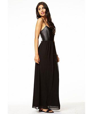 ed2a0e982d2 FOREVER 21 - Black Faux Leather Chiffon Maxi Dress