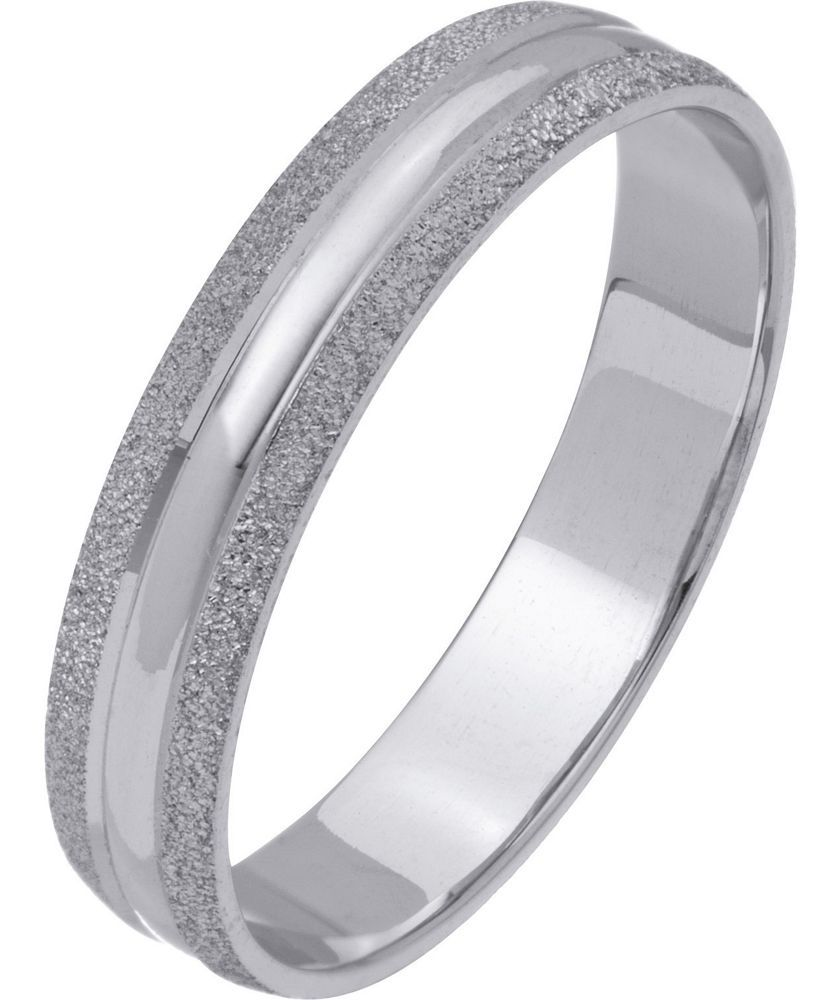 Buy 9ct White Gold Frosted Edge Ring