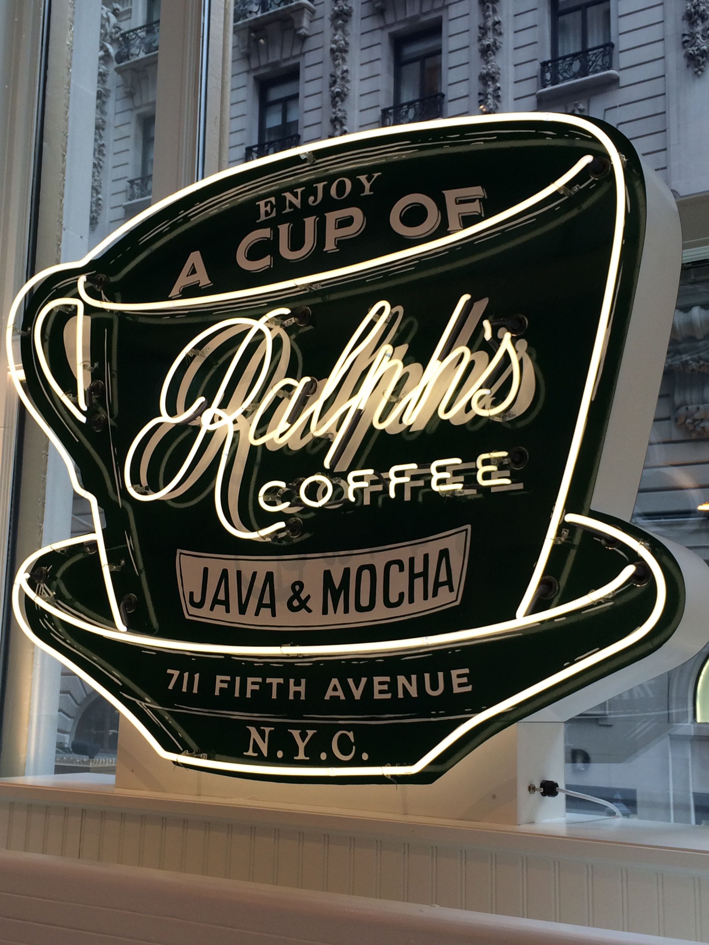 Ralph S Coffee Neon Sign At Polo Ralph Lauren On Fifth Avenue In Manhattan Shop Signs Neon Signs Nyc Coffee Shop