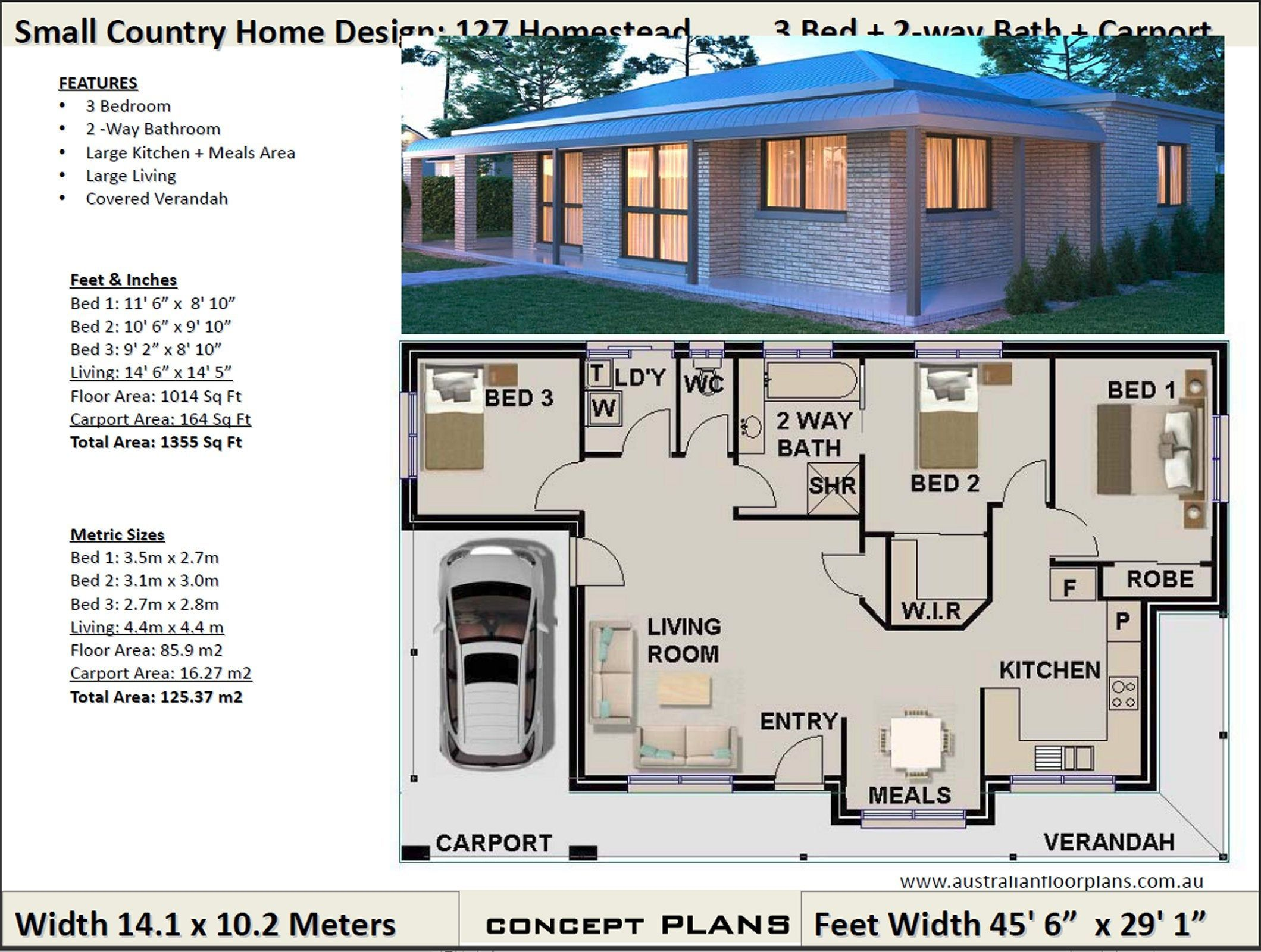 Small Country House Plan 1014 Sq Feet Or 85 9 M2 Small Etsy House Plans Australia House Plans For Sale House Plans
