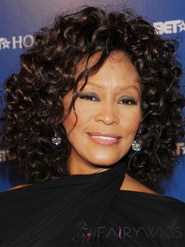 Advanced Whitney Houston Hairstyle Medium Curly Full Lace 100 Human