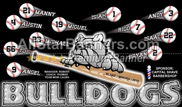 Bulldogs Baseball Banner Idea From Allstarbanners Com We Do Soccer Banners Baseball Banners Softball Ban Baseball Banner Baseball Banner Design Soccer Banner