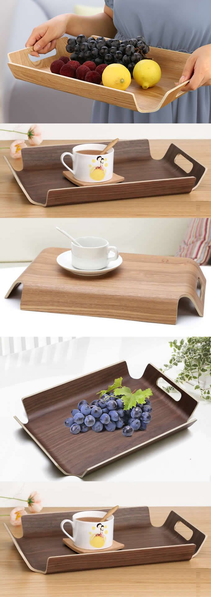 Really Like This Wooden Fruit Cake Snack Vegetable Serving Tray Plate With  Handles For Party Idea,Can Be Used As A Mug Holder Office Desk Stationery  ...