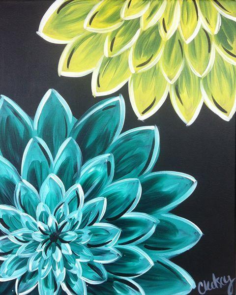 Dahlias Summer Chalkboard Art Art Painting Flower Canvas