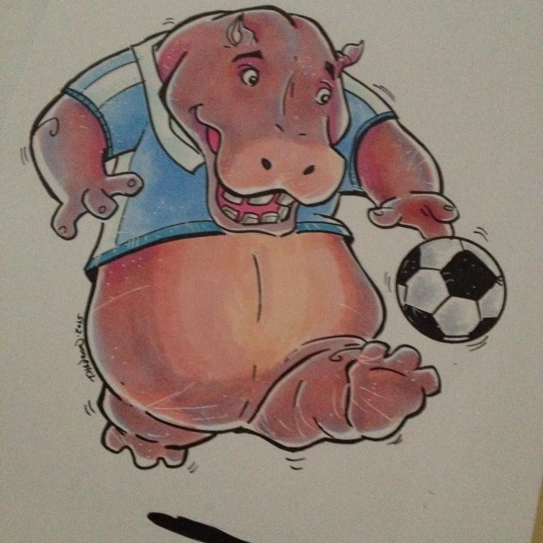 #hippo #art #illustration #soccer #soccerball #copic #copicmarker #gift am yes it's #cute ;) by me