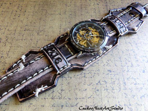 95d8acc99c88 Reloj brazalete de cuero hombres reloj regalo de cuero reloj