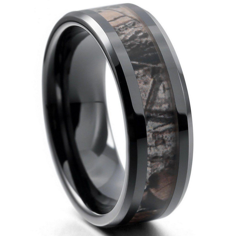 Black camo tungsten ceramic titanium mens womens ring