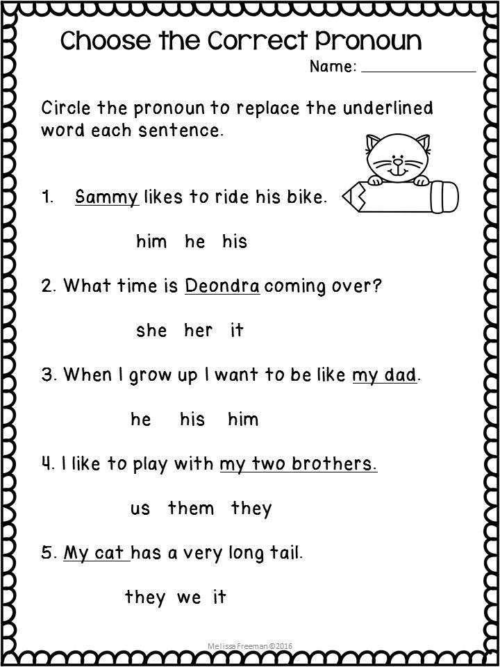 Pronouns Worksheets Elementary Reading Activities