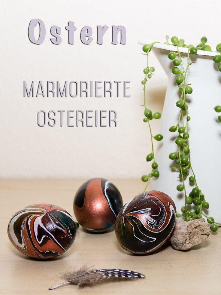 ostereier bemalen ausgeblasene eier marmorieren. Black Bedroom Furniture Sets. Home Design Ideas