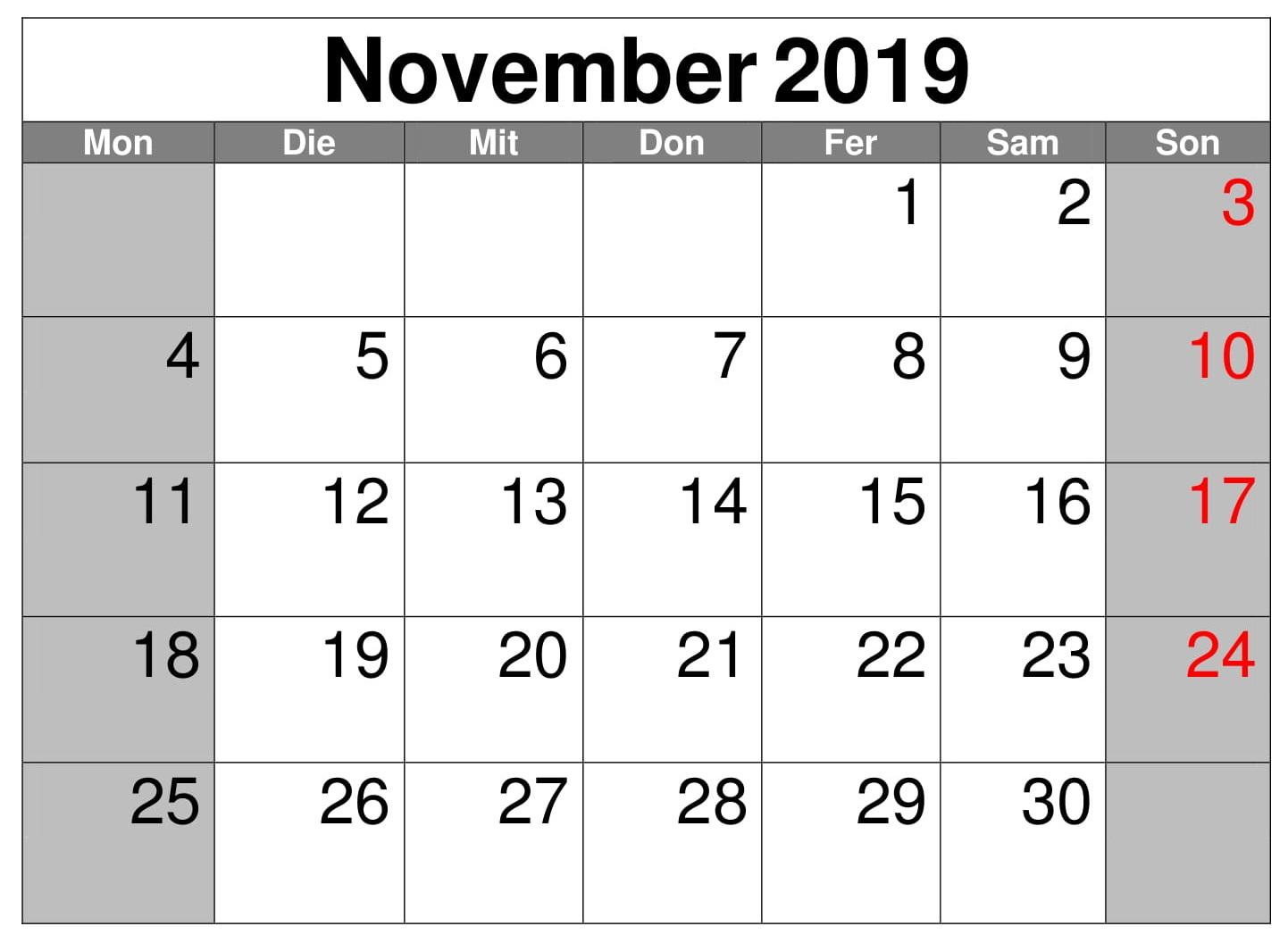 Montas Kalender 2019 November Words November 2019 Calendar