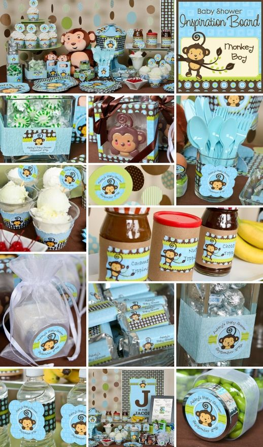 Monkey Boy baby shower or birthday party theme is one of our top sellers and it is easy to see why with this Monkey Boy party. With do-it-yourself personalized sticker labels, and BigDotOfHappiness.coms personalized wall art and original centerpieces, creating an impressive buffet table is a baby-shower-favors