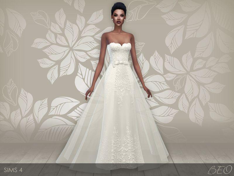 BEO CREATIONS: Wedding dress 28 V2 (S4) | Sims 4 Updates | Pinterest