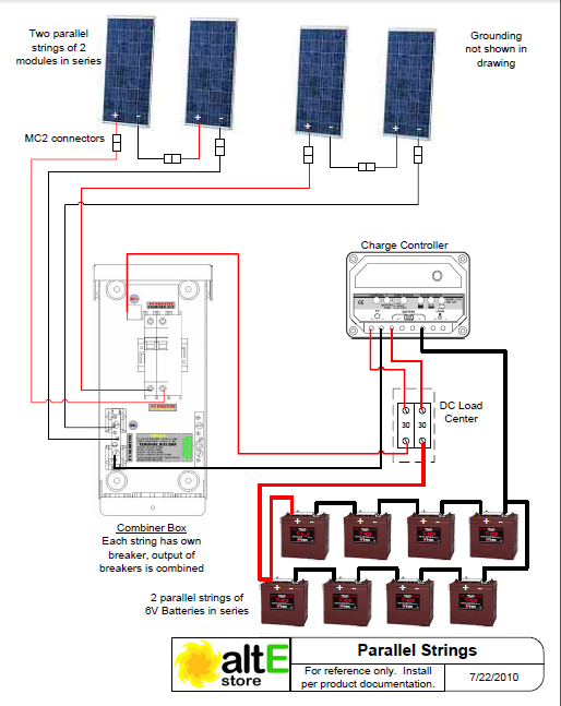 schematic wiring solar panels in series and parallel solar power rh pinterest com connect two solar panels together wiring different size solar panels together