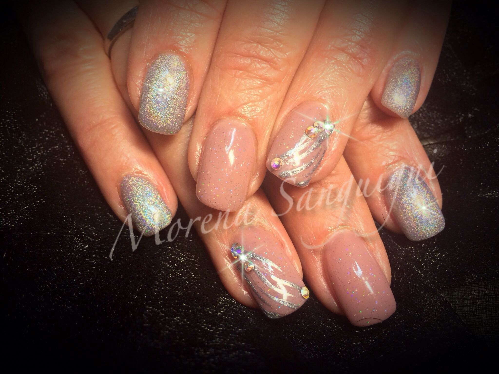 Acrylic nails with gel polish and art, nude with silver diamond dust ...