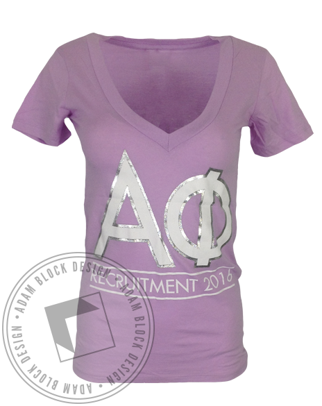 Alpha Phi Want It Need It Gotta Repeat It Foil VNeck by Adam Block Design | Custom Greek Apparel & Sorority Clothes | www.adamblockdesign.com