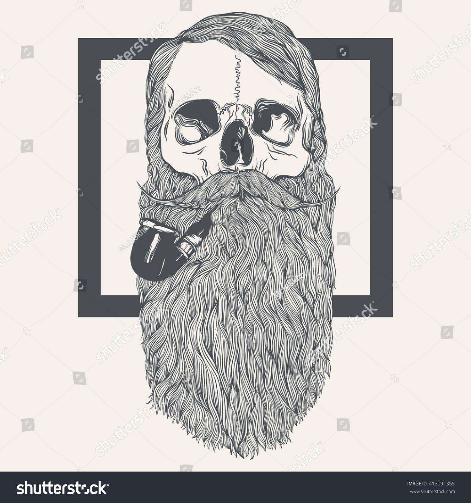Стоковая векторная графика «Illustration Skull Beard» (без ...