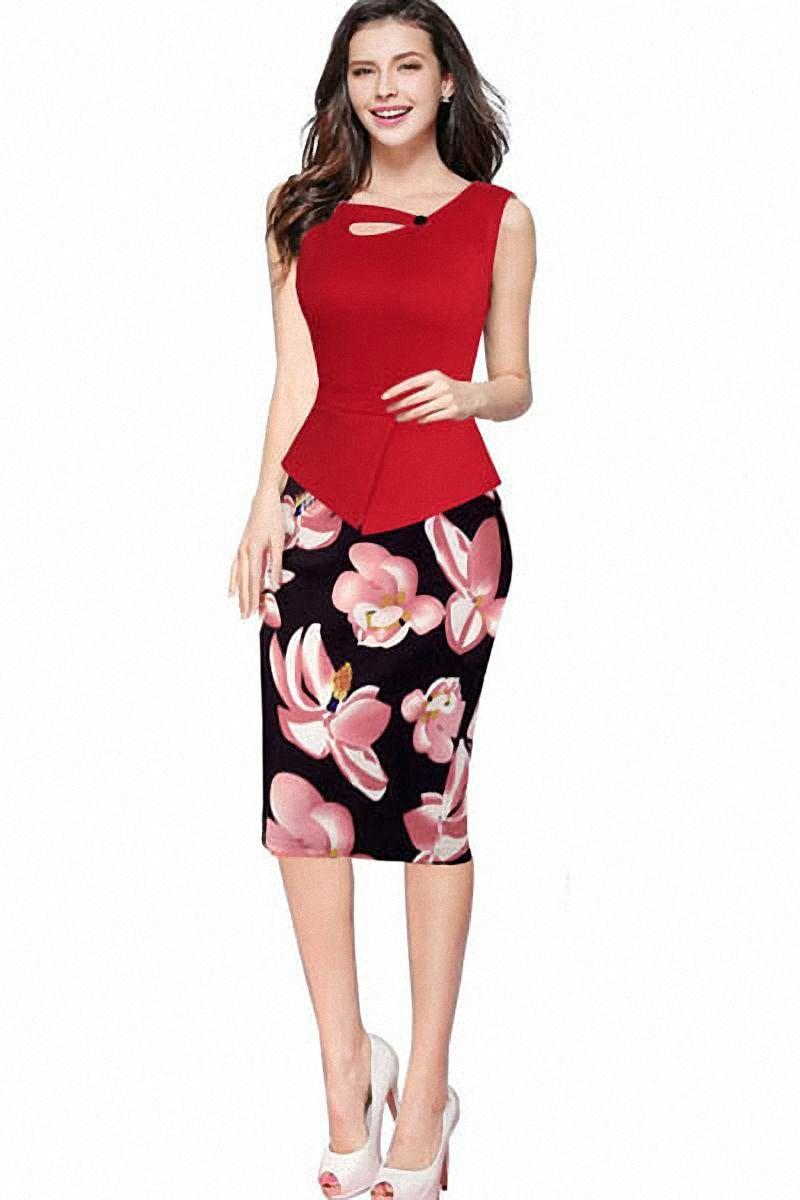24bc4fbfd3ab2 Women s Elegant Chic Bodycon Formal Wear to Work Pencil Dress L36113 ...